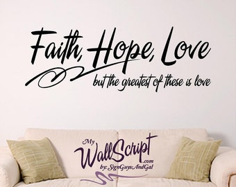 Bible Verse Wall Art, Faith Hope Love Wall Decal, Inspirational Wall Graphic