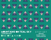 Mountains on Teal Sky - etsy set