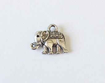 15 Elephant Charms, Antique Silver Elephant Charm, 12x14  P 30 045