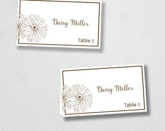 Printable Place Card Template - INSTANT DOWNLOAD - Escort Card - For Word and Pages - Mac and PC - Flat or Folded - Daisy