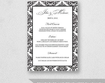Wedding Menu Template Printable - INSTANT DOWNLOAD - For Word and Pages - Mac and PC - Damask - 5 x 7 inches