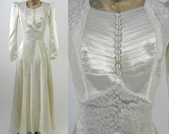 Vintage Wedding Dress, 1930s Satin Wedding Gown, Vintage Ivory Wedding Gown, Satin 30s Wedding Dress, 1930s Bridal Dress, Art Deco Gown