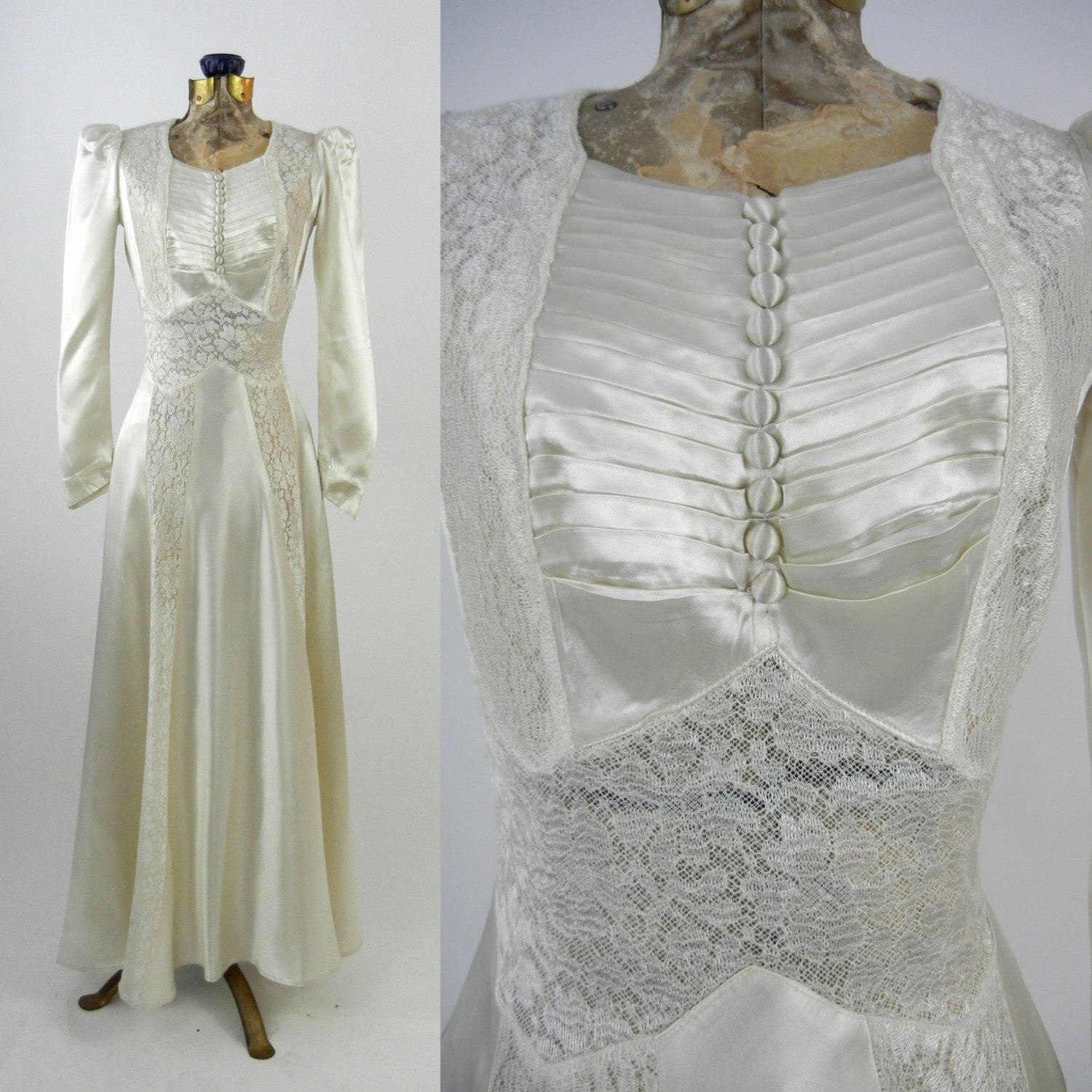 Vintage wedding dress 1930s satin wedding gown vintage ivory for Ivory lace wedding dresses vintage