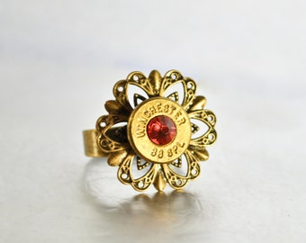 Filigree Top Bullet Ring- Brass and Indian Pink