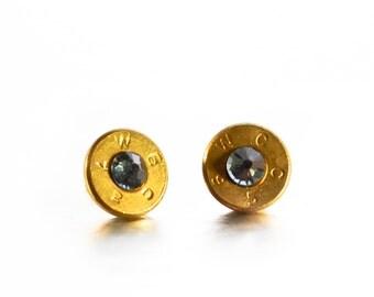 Bullet Stud Earrings- Brass and Hematite