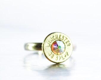 Simplistic Bullet Ring-  Nickel and Aurora Borealis