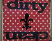 Dirty and Clean Dishwasher Sign Velcro or Magnet- black fleur de lis, red and white polka dot, black dirty and clean words