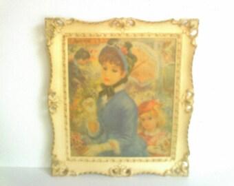 Vintage Turner Art / Edwardian Ladies Print / Faux Wood Framed Lithoboard / Strevens
