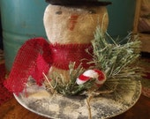 Primitive Vintage Snowman in Hat
