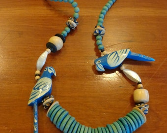 Blue Carved Parrot Wood Bead Necklace
