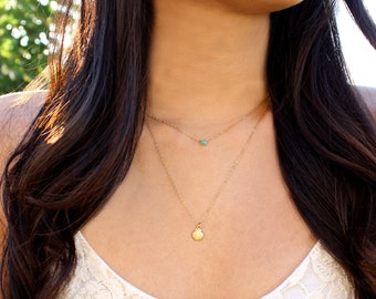 Seashell Charm & Chrysoprase - Layered Ocean Breeze Necklace - 14k Gold Fill - Set of 2 Necklaces