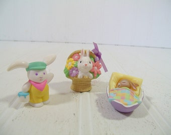 Vintage Hallmark Cards Merry Miniatures Easter Spring Bunny Collectibles - Bunny with Paint Can, Bunny Basket, & Sleeping Bunny in Eggshell