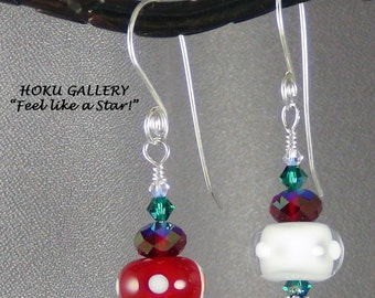 """Red, White, Green Lampwork Glass Bead Earrings,  Swarovski Crystals, Sterling Silver - 2"""" - Hand Crafted Artisan Jewelry"""