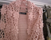RESERVED for BENITA - Gorgeous Peachy-Pink Crocheted Open Front Vest, Vintage - Medium