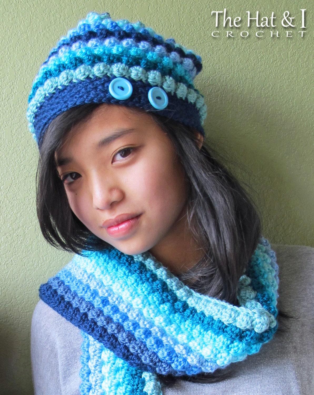crochet pattern bobblicious scarf hat slouchy hat