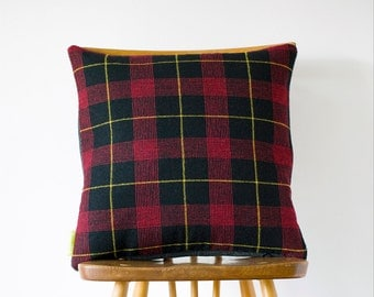 SALE Tartan Cushion, Grey Wool Plaid Pillow, Upcycled Vintage Gannex, Gifts For Men, Boyfriend Gift, Gift For Him, English Style ECO Gift