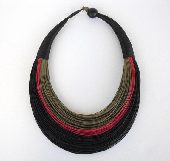 Statement Fiber Necklace, Minimalist Jewelry, Street Fashion, Trending Necklace, Bold Necklace