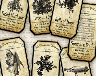 15 Christmas Apothecary Bottle Labels 4.5 x 2.23 inch Jar Labels instant download digital collage sheet VD0591