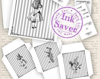 Alice in Wonderland Quotes Tea Bag envelopes save ink instant download digital collage sheet VDTEAL1009
