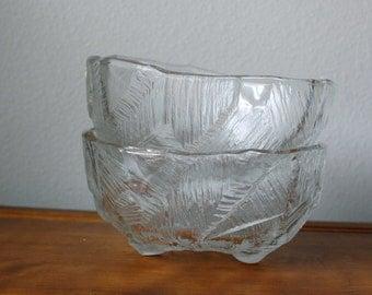 Vintage Hoya Crystal serving bowls iceberg pattern PAIR