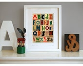 Art Deco alphabet, fine art giclée print 8 x 10 mount. Retro art print 1930s style. A to Z print, typographic ephemera Title: 'Signals 1935'
