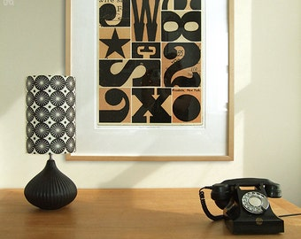 Limited edition, mid century style abstract type print. Monochrome vintage woodblock letters. Signals Woodside, New York, 420 x 594mm