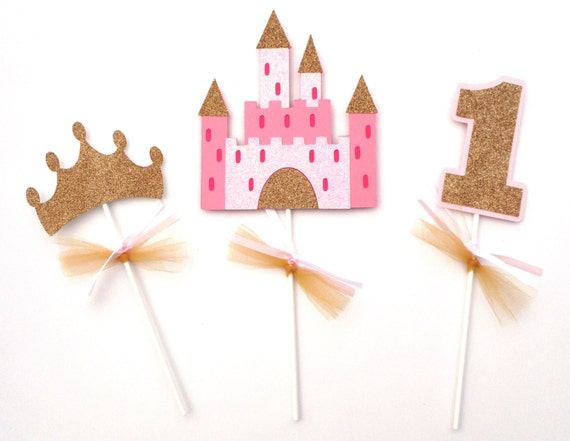 Princess pink and gold glitter themed centerpiece sticks