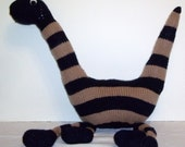 NEW Hand knit Stuffed Toy Brontosaurus Navy And Tan Monster Hand Made