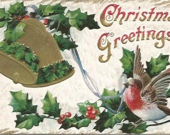 Antique Postcard Christmas Greetings Finch Bird Ring Bells