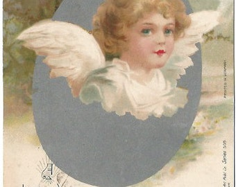 Antique Postcard Undivided Back A Happy and Peaceful Easter Angel Hatching out of Easter Egg  Railroad Postage 1 Cent 1906