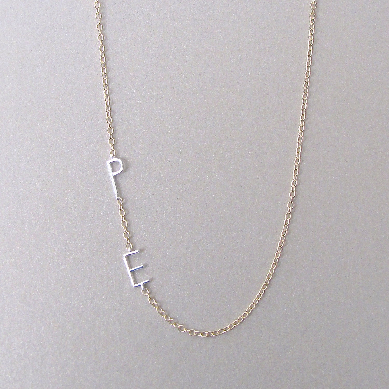 two tone 2 initial necklace initial necklace custom