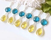 Blue yellow Bridesmaid earrings, Drop Earrings, fall Wedding party Dangle Earrings Bridal Jewelry Bridesmaid Accessories, made of honor gift