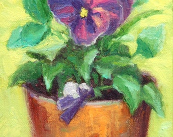 """Pansy Painting, Original Floral Oil Painting, 7 x 5"""", """"Happy Pansy"""" by Kim Stenberg, Rich Impressionistic Art"""