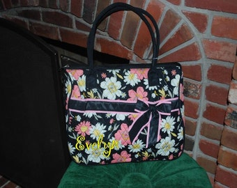 LAST ONE Monogrammed Personalized Quilted Large Tote Bag Carry All