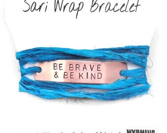 hand stamped copper bracelet, aqua teal wrap bracelet, id bracelet,  be brave be kind, inspirational quote, mantra, handmade jewelry