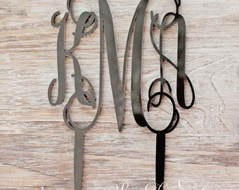 Acrylic Black Monogram Cake Topper - Other Colors Available