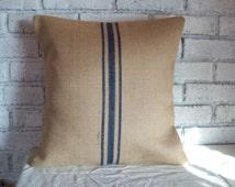 Decorative Pillow Cover, Burlap Pillow Cover, Rustic Home Decor, Farmhouse Decor, Striped Pillow Cover, Cabin Decor Pillow Cover, Navy Blue