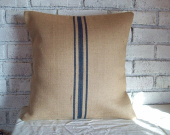 Burlap Pillow Cover with Navy Blue Grain Sack Stripes or Color Choice, Sizes 16 x 16 to 24 x 24, Farmhouse Decorative Throw Pillow