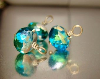 3 Aqua mermaid pools picasso 10 x 6mm bead drop dangles diy jewelry making earring charms