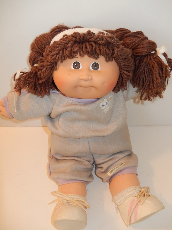 Vintage 1982 Cabbage Patch Doll Brown Yarn Braided Hair