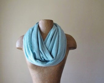 POWDER BLUE Circle Scarf - Baby Blue Infinity Scarf - Lightweight Scarf - Womens Knit Tube Scarf
