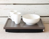 Stable table, iPad stand or Breakfast serving Tray - Greyish Brown with black linen Pillow