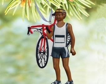 Triathlete Ornament - Black Male [TR-08943]