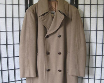 Vintage Coat Mighty-Mac Out O'Gloucester Wool Jacket Camel Taupe Brown Women Double Breasted 40 42  M S Overcoat Topcoat Old World