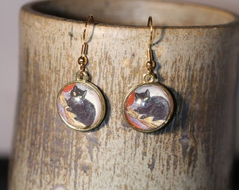 Black Cat Halloween Earrings - Item 1335