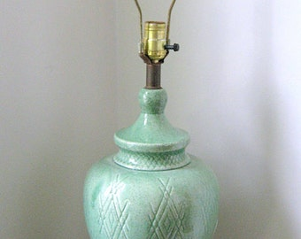 Vintage Mint Green Pottery Table Lamp, Atomic Age, Mid Century, On Sale