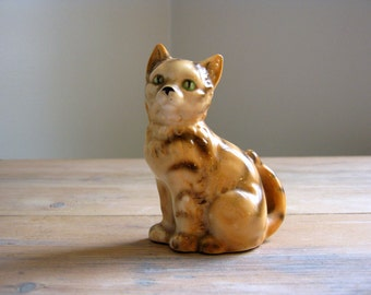 Vintage Japan Tabby Cat Shaker Figurine, Orange Tabby Cat Salt Pepper Shaker