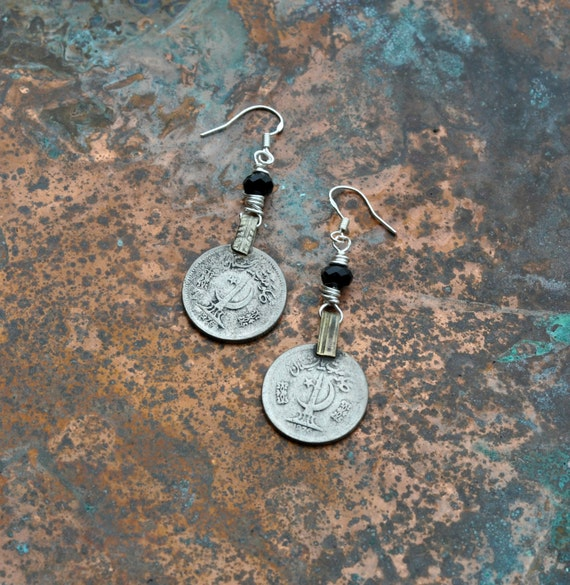 Cresent Moon Coin Earrings
