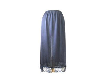 Slip Skirt Long Black Lace Half with Convertible Slit Size Small