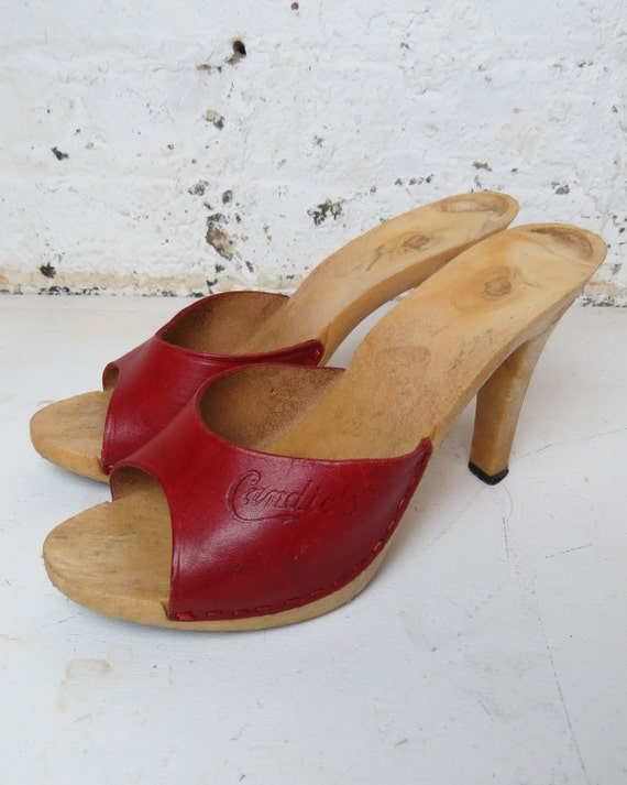 vintage red leather Candies platform mules by gypsiesrisingvintage